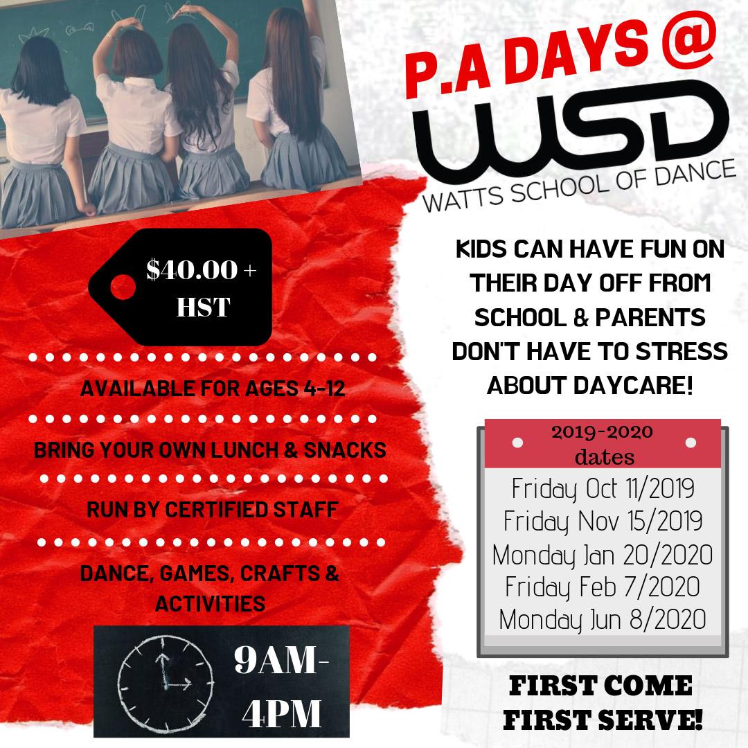 Watts School of dance PA days at WSD